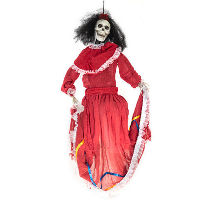 Halloween Decoration Dancing Beauty with Red Dress, Light and Sound, 32' - 'G.Ghouls