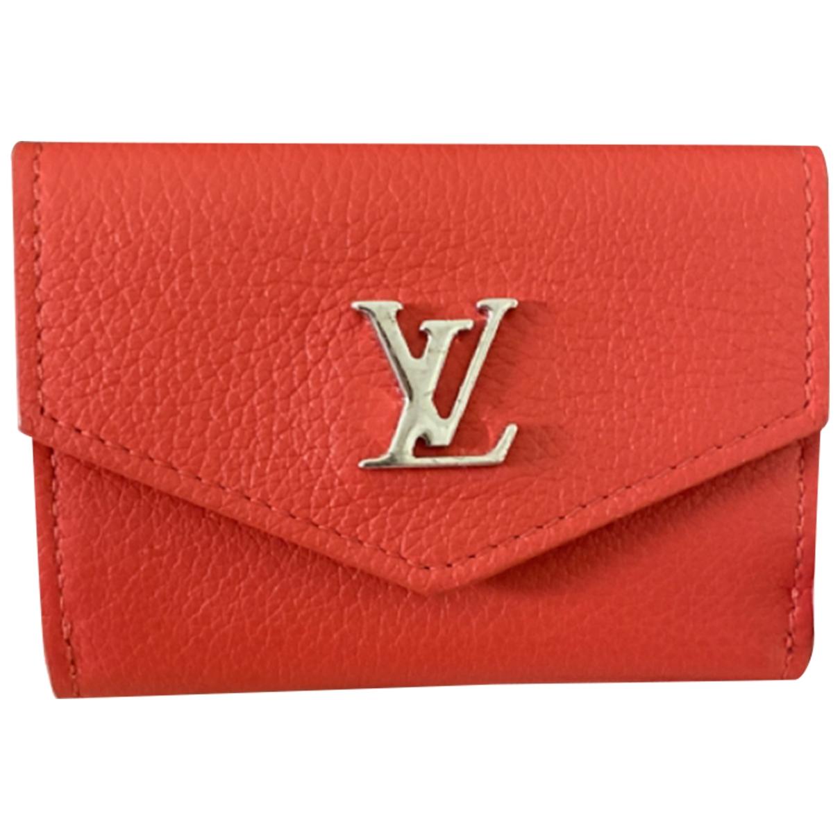 Louis Vuitton - Portefeuille Lockme pour femme en cuir - rouge