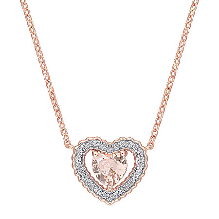 Womens Simulated Pink Morganite 18K Rose Gold Over Silver Heart Pendant Necklace, One Size , No Color Family