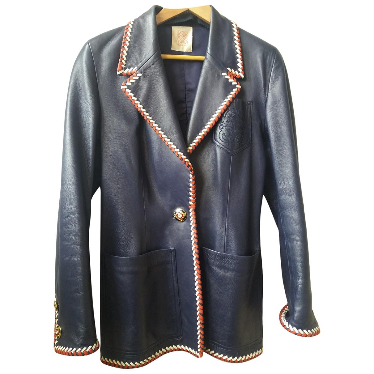Loewe \N Blue Leather jacket for Women 44 FR