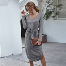 Solid Knot Front Curved Hem Dress
