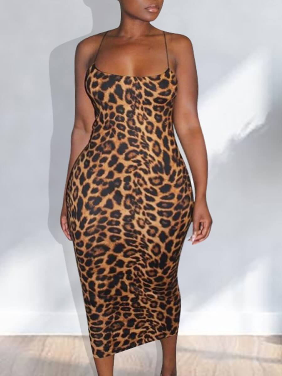 LW Lovely Sexy Spaghetti Strap Leopard Print Brown Ankle Length Plus Size Dress