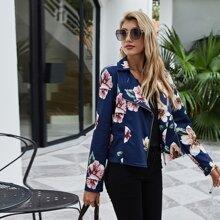 Jacke mit Blumen Muster, Reissverschluss und Reverskragen
