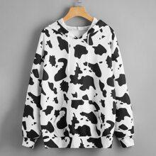 Capucha con cordon con estampado de vaca con bolsillo