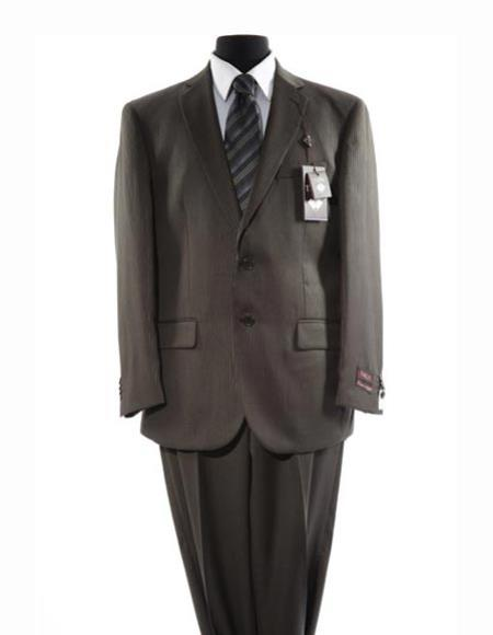Men's 2 Button Single Breasted Taupe  Pattern Suit