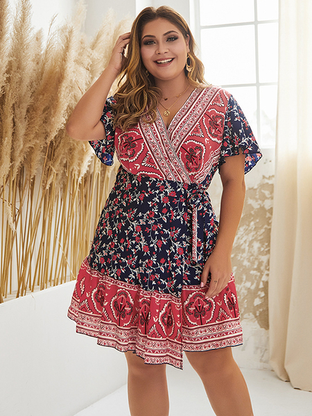 Yoins Plus Size Belt Design Tribal V-neck Short Sleeves Dress