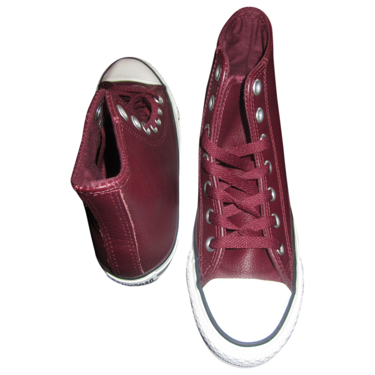Converse N Burgundy Leather Trainers for Women 36 EU