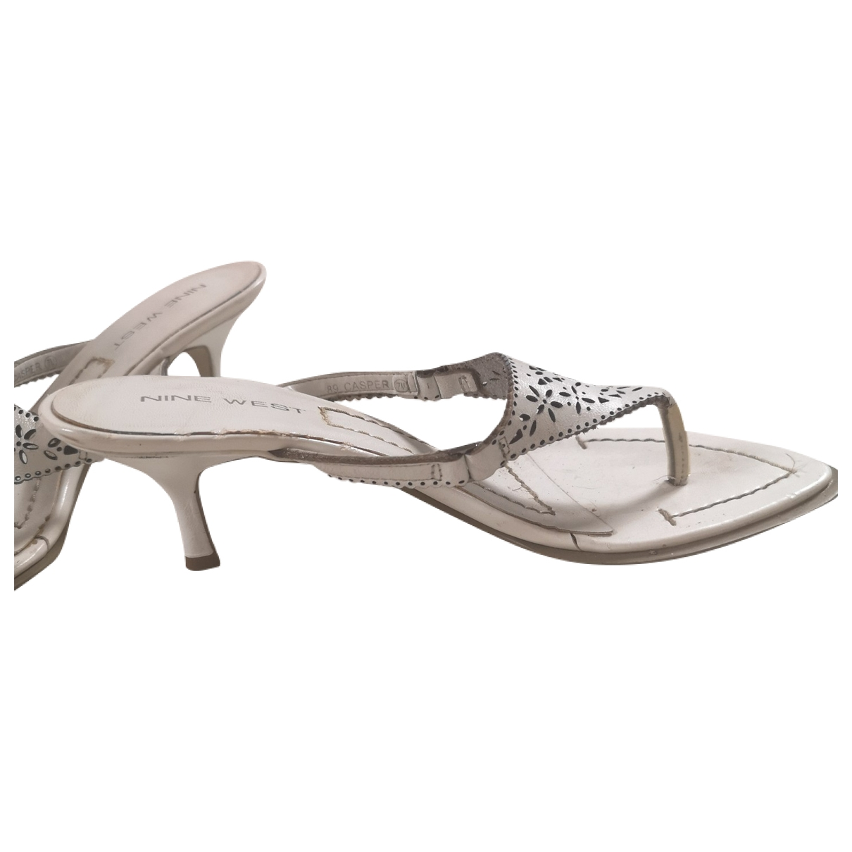 Nine West \N White Leather Sandals for Women 7 US