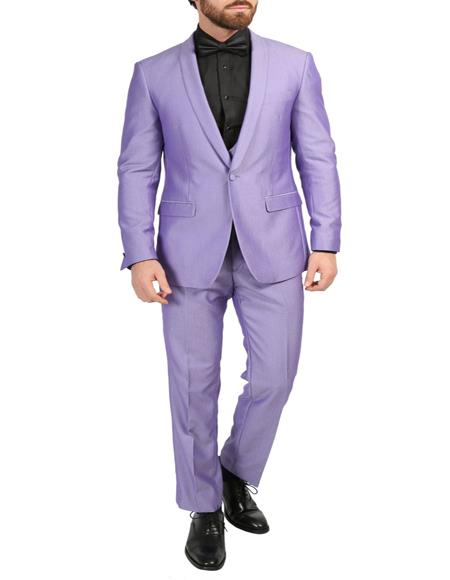 Mens Ultra Violet 3-Piece Slim Fit Shawl Tuxedo
