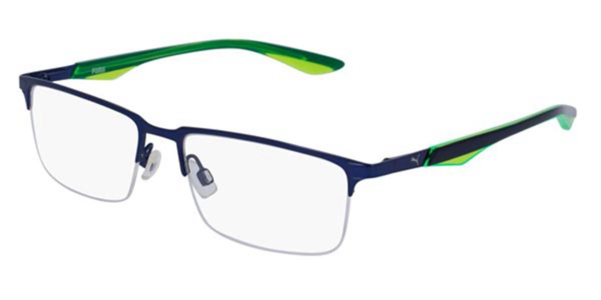 Puma PU0064O 001 Men's Glasses Blue Size 54 - Free Lenses - HSA/FSA Insurance - Blue Light Block Available