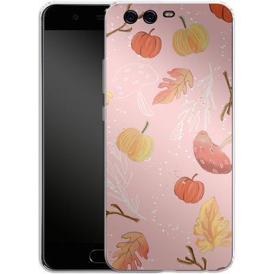 Huawei P10 Silikon Handyhuelle - Foliage Pink Woodland von Mukta Lata Barua