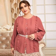 Plus Frill Trim Bishop Sleeve Blouse Without Belt