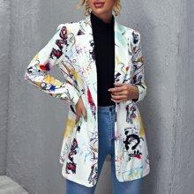 Blazer mit eingekerbtem Kragen, Knopfen und Pop Art Muster