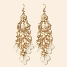 Beads Decor Tassel Drop Earrings
