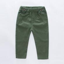 Toddler Boys Elastic Waist Solid Pants