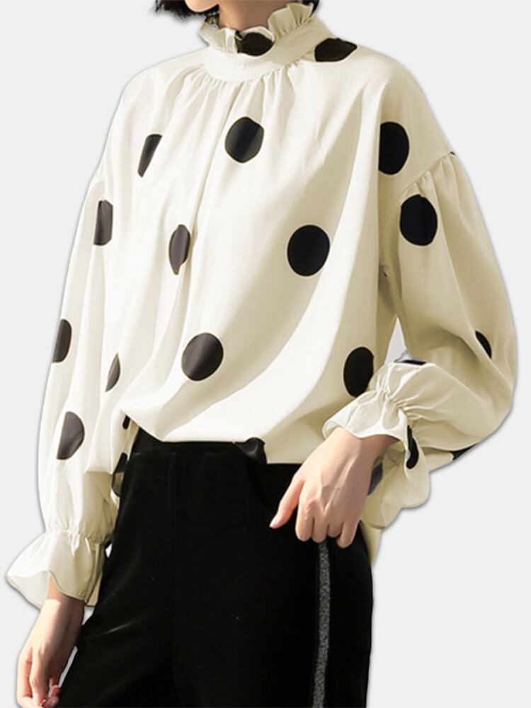 Polka Dot Ruffle Neck Bishop Sleeve Plus Size Blouse