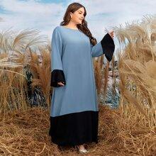 Tunika Kleid mit Kontrast Einsatz und Schosschenaermeln