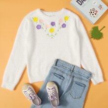 Pullover mit Blumen Stickereien