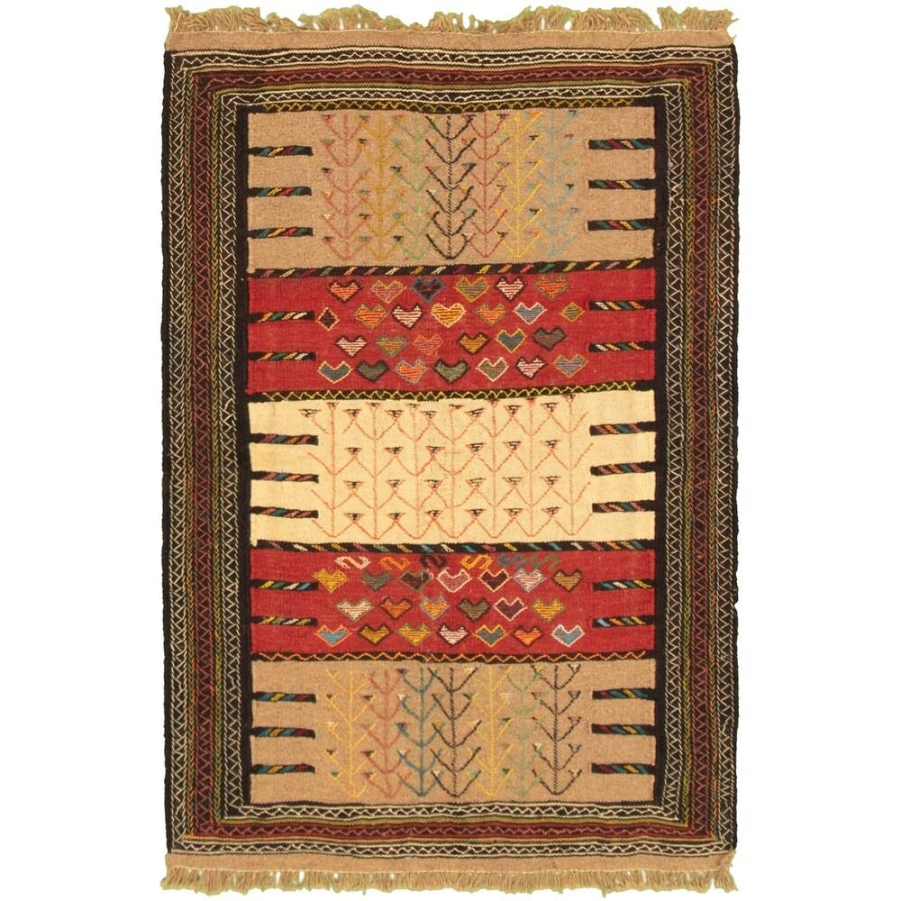 ECARPETGALLERY Flat-weave Ottoman Natura Red, Tan Wool Kilim - 3'8 x 5'7 (Red/ Tan - 3'8 x 5'7)