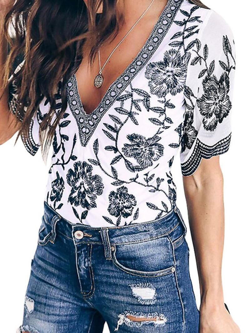 Ericdress V-Neck Color Block Floral Short Sleeve Blouse