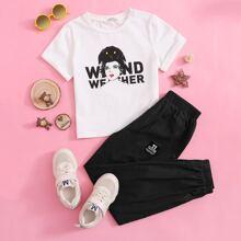 T-Shirt mit Figur & Buchstaben Grafik & Hose Set