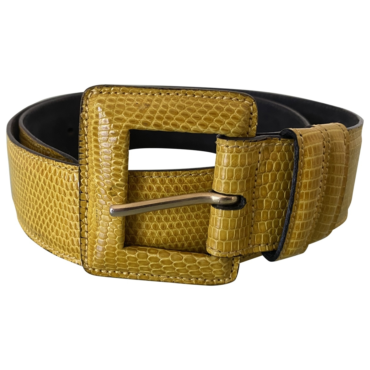 Non Signé / Unsigned \N Yellow Lizard belt for Women 75 cm