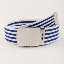 Metal Buckle Stripe Tape Belt