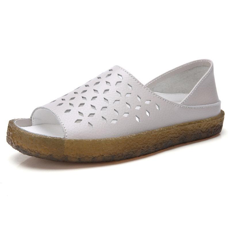 Ericdress Heel Covering Open Toe Slip-On Hollow Sandals