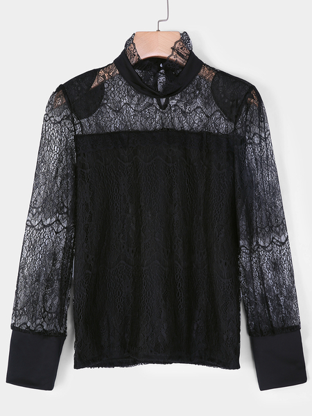 Yoins Black Lace Insert Frill Neck Long Sleeves Blouses