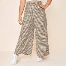 Plus Gingham Button Fly Wide Leg Pants