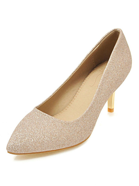 Milanoo Kitten Heel Pumps Gold Pointed Toe Slip On Pumps Sequined Party Shoes For Women
