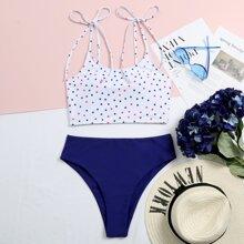 Star Print Tie Shoulder Bikini Swimsuit