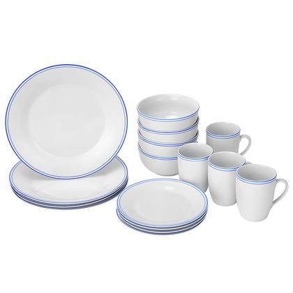 Service de vaisselle rond de 16 pièces, porcelaine blanc grisâtre à rayures dorées - LIVINGbasics™