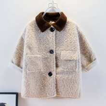 Toddler Girls Button Up Contrast Collar Teddy Coat