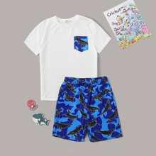 Jungen T-Shirt mit Muster, Tasche Flicken und Shorts PJ Set