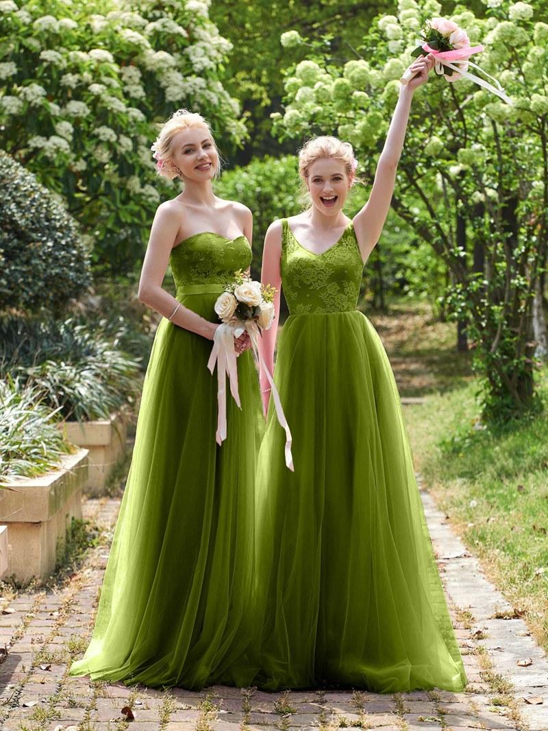 Ericdress Straps Lace Top Long Bridesmaid Dress