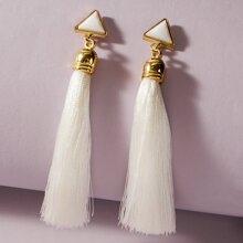 1pair Tassel Charm Triangle Decor Drop Earrings