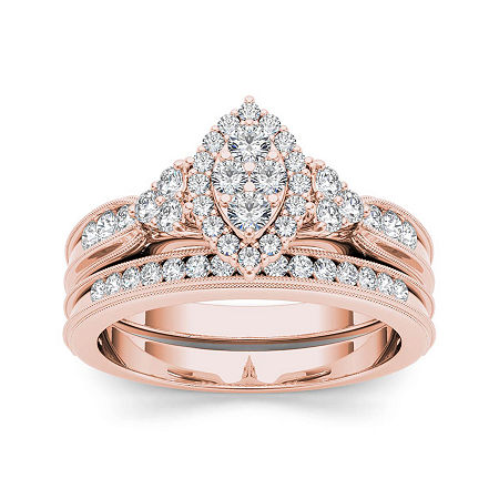 1/2 CT. T.W. Diamond 10K Rose Gold Bridal Ring Set, 9 , No Color Family