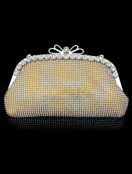 Milanoo Bolso de novia de lujo Fiesta de bodas con pedreria Cierre de beso Diamante de imitacion