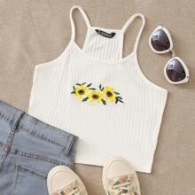 Strick Crop Cami Top mit Sonnenblumen Stickereien
