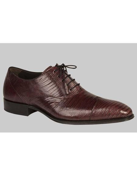 Mens Purple Lace Up Lizard Wing Style Cap Toe Leather Shoes Brand