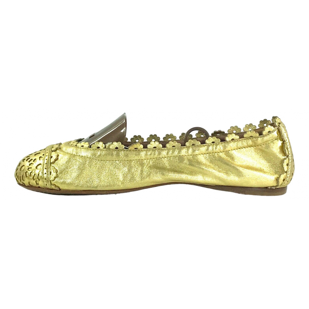 Alaia \N Ballerinas in  Gold Leder