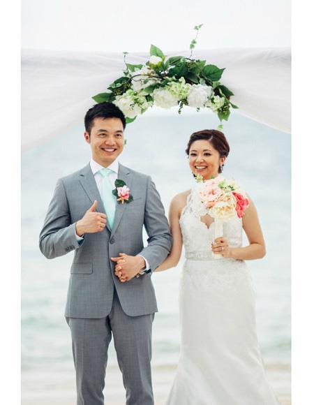 Mens Beach Wedding Attire Suit Menswear Grey 199