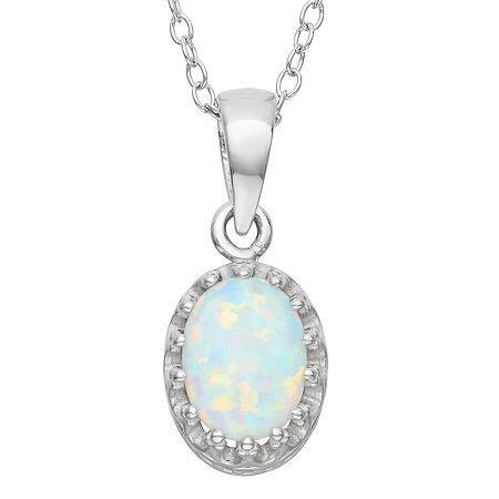 Womens Lab Created White Opal Sterling Silver Pendant Necklace, One Size , No Color Family