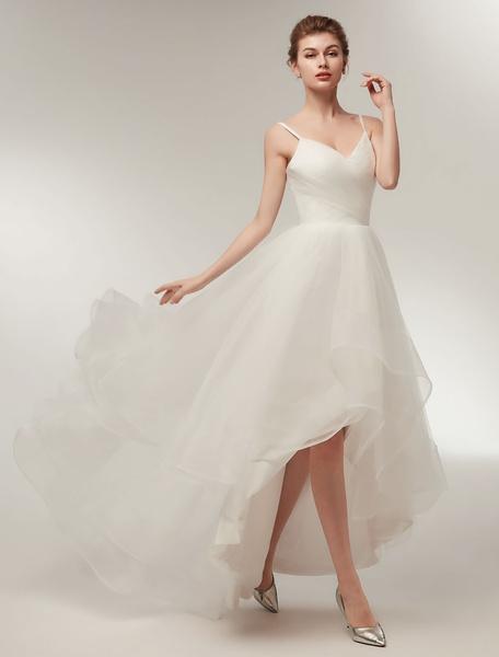 Milanoo Beach Wedding Dress High Low Summer Bridal Dress Ivory Tulle Spaghetti Straps Asymmetrical Wedding Gowns