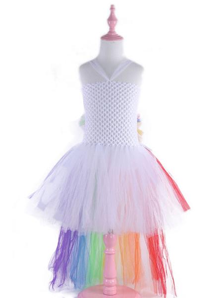 Milanoo Rainbow Unicorn Dresses Baby Girls Princess Tutu Fancy Dress Asymmetrical Kids Halloween Costume