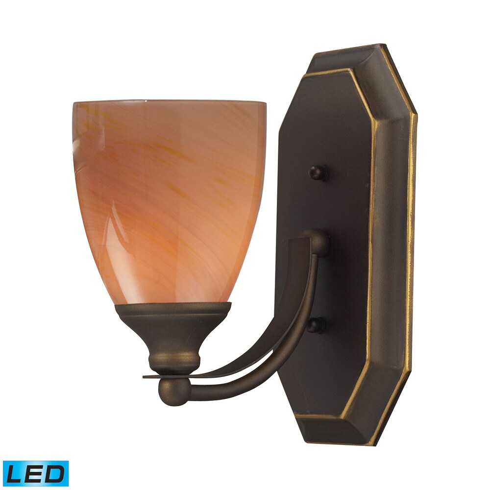 Elk Bath and Spa 1-light LED Vanity in Aged Bronze and Sandy Glass (Aged Bronze)