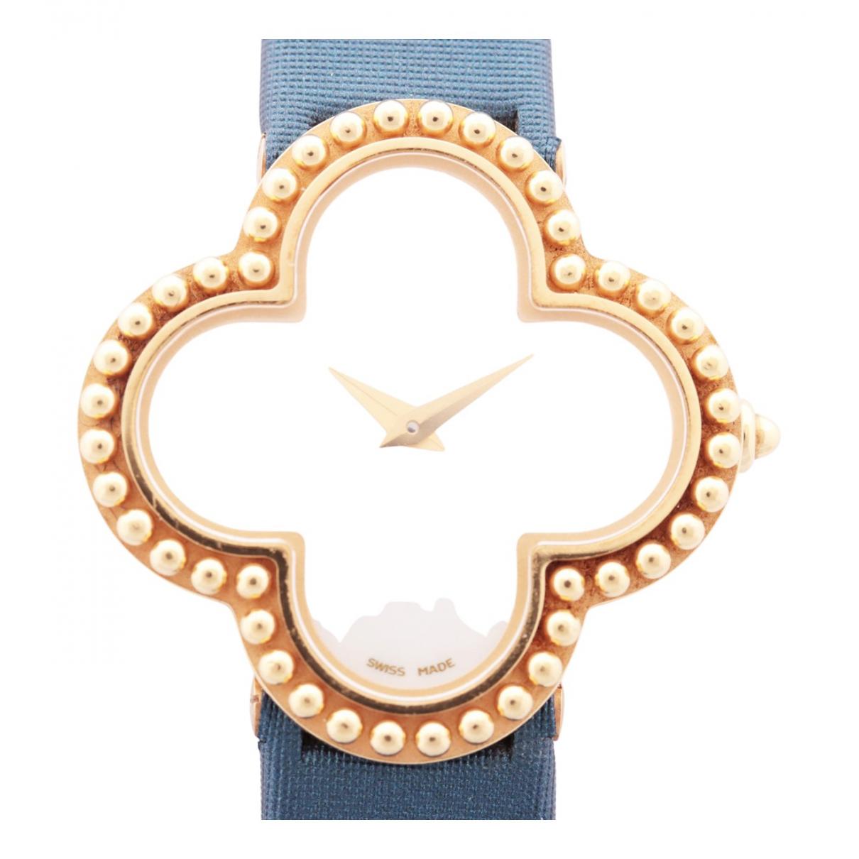 Van Cleef & Arpels - Montre Vintage Alhambra pour femme en perle - bleu