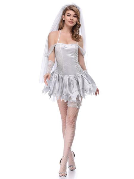 Milanoo Corpse Bride Costume Halloween Women Sexy Short Dresses Outfit
