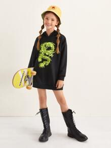 Girls Drop Shoulder Dragon Graphic Sweatshirt Dress